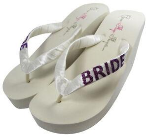 Wedding Flip Flops, Bride Purple Eggplant Glitter, Ivory White, many ...
