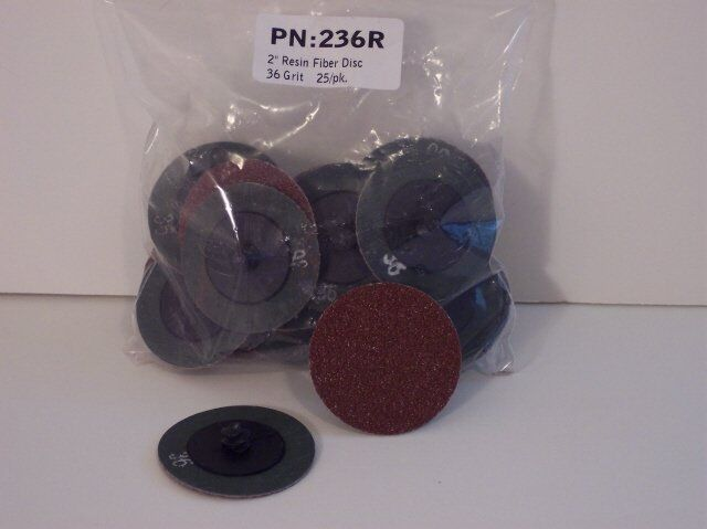 "Shark 2/"" 36 Grit Roloc Grinding Discs 25 Pack with Holder Made in USA NEW"