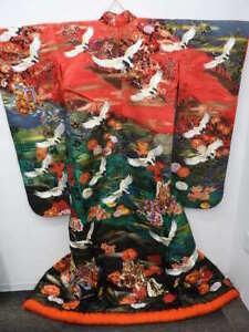 GORGEOUS-BRIDAL-Red-Black-Silk-Japanese-UCHIKAKE-KIMONO-w-Cranes-Carriage-E328
