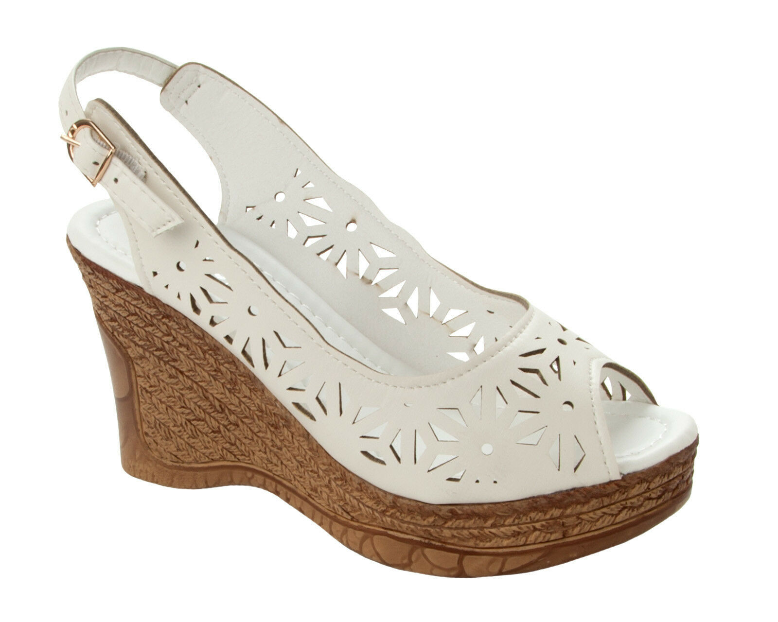 WOMENS WHITE CUT OUT ESPADRILLES SUMMER UK WEDGE SANDALS SHOES LADIES UK SUMMER SIZE 3-8 ddcaa4