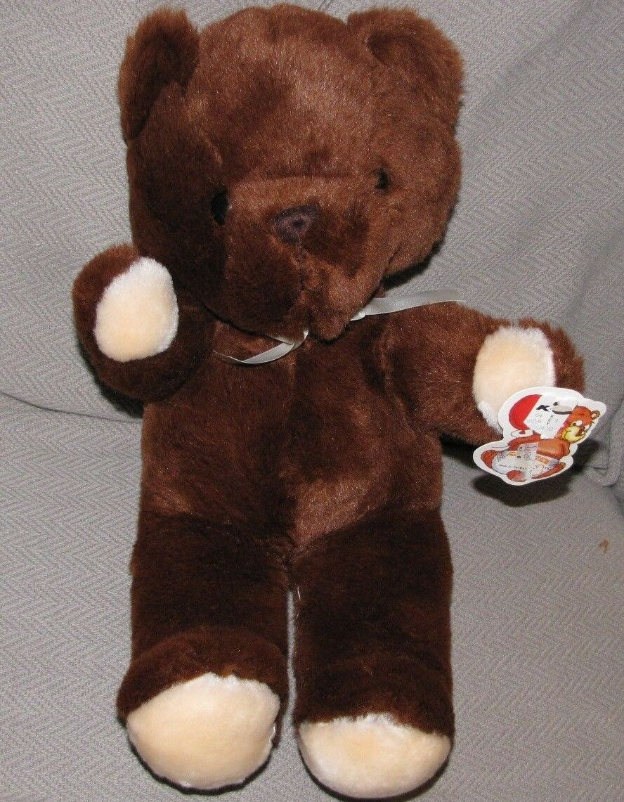 FAIRVIEW STUFFED PLUSH TEDDY BEAR CHOCOLATE braun CREAM BEIGE PAW BOW RIBBON 15