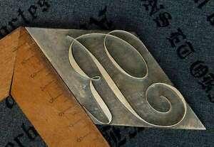 Riesiges-034-R-034-Messingbuchstabe-Initial-Praegen-Buchbinder-Monogramm-Vergolden-rar