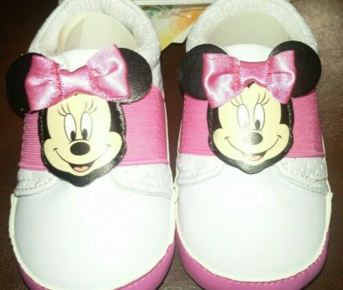 Disney Minnie Mouse Baby Girl Pink Sparkly Dressy //Casual Shoes Size 6-9 months
