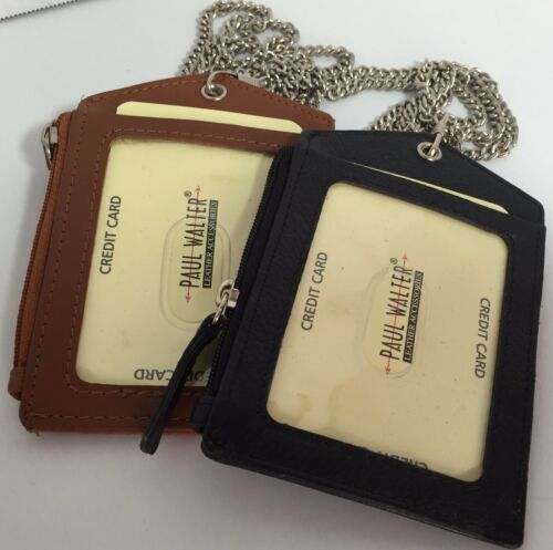 SET OF 2 LEATHER ID BADGE HOLDER ZIPPERED LANYARD WITH NECK CHAIN 3 CARDS SLOT