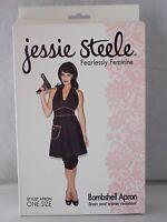 Jessie Steele Salon Bombshell Apron Black With Pink Trim One Size 100% Nylon