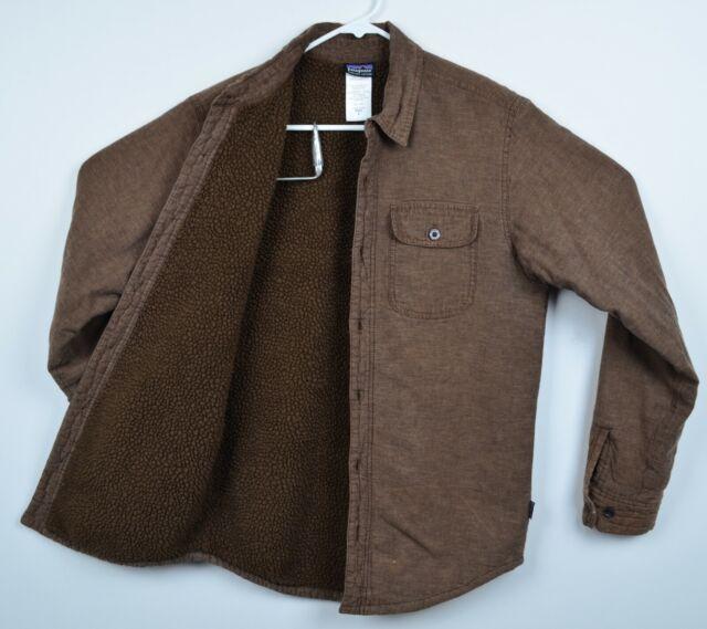 Patagonia Men's Small Hemp Blend Sherpa Lined Brown Cormac Shirt Jacket