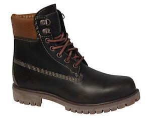 Timberland-15-2cm-Prem-Tejido-Botas-Hombre-Zapatos-Con-Cordones-Cuero-Marron