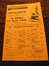 Partition Loulou de Poméranie La Samba la plus jolie Bressier Brassey