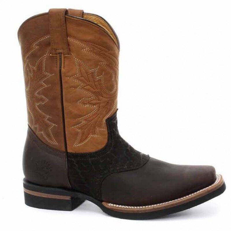 NEU Grinders Frontier Tan Braun Real Leder Cowboy Boot Slip On Mid Calf Stiefel