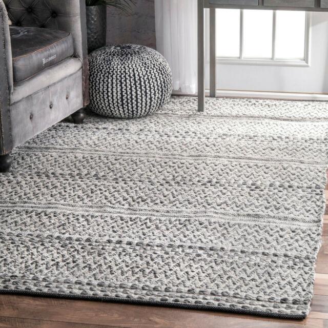 Indoor Outdoor Rug Flatweave Striped Rugs Reversible Grey Patio Kitchen Mats New