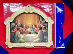 LAST-SUPPER-9-034-MULTI-LAYERED-WOODEN-GOLD-FOIL-WALL-PLAQUE-Italy-NEW-Stunning