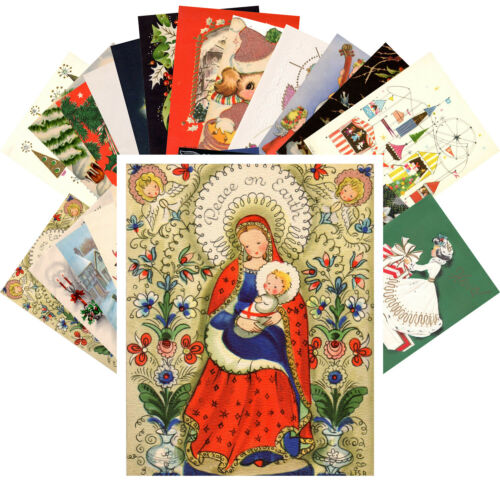 Postcards Pack 24 cards Vintage Christmas Card Mix Cute Snowman Angel CE5005