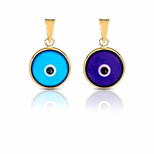 Evil-Eye-Luck-Charm-Pendant-Light-Blue-amp-Dark-Blue-Real-14K-Yellow-Gold