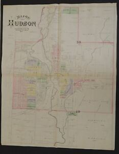 Michigan Lenawee County Map Hudson 1893 Double Page T1 49 Ebay