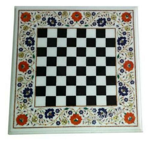 21 Inches Marble Coffee Cum Chess Board Table Top with Shiny Gemstones Art