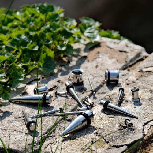 1.6-10mmoreja estiramiento KitReino Unido joyas de cuerpo Forma Cónica Acero /& Túnel Set