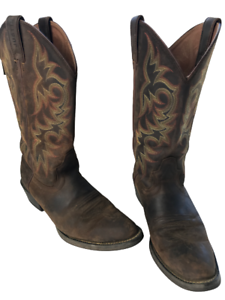 Justin 2551 Men's Stampede Huck Brown Leather Western Cowboy Boots Size 9 D