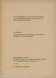 INFORMATION IM VOLKSBUCHHANDEL Buchhandel Buchhändler Verkaufskultur in der DDR - Deutschland - INFORMATION IM VOLKSBUCHHANDEL Buchhandel Buchhändler Verkaufskultur in der DDR - Deutschland