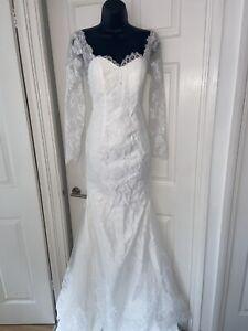 Abito da Sposa Bianco Coda Di Pesce Collo V Maniche Lunghe Bodycon Dress Size 8-10 NUOVO