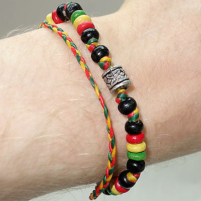 Rasta Wood Silver Bead Hemp Wristband Cuff Friendship Charm Bracelet Cool Bangle