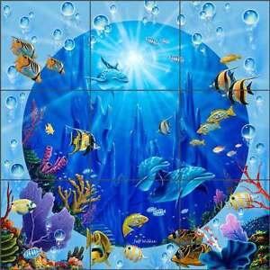 Tile-Mural-Backsplash-Ceramic-Wilkie-Undersea-Dolphin-Tropical-Fish-POV-JWA036
