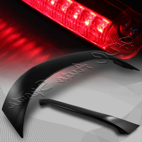 For Toyota Corolla Black ABS Rear Spoiler Wing W//Smoke Len Red LED Brake Light