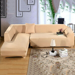 L Shape Stretch Elastic Fabric Sofa Cover Pet Corner Couch Cover Free Pillowcase