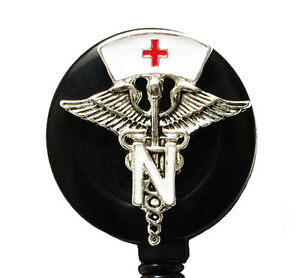 Retractable-ID-badge-holder-reel-Medical-Symbol-with-White-Nurse-Hat