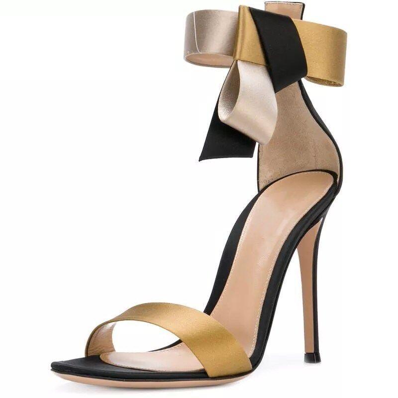 Damen Abendschuhe High Heels Schleife Pumps Sandale Top 33-43 Gold Mischfarbe