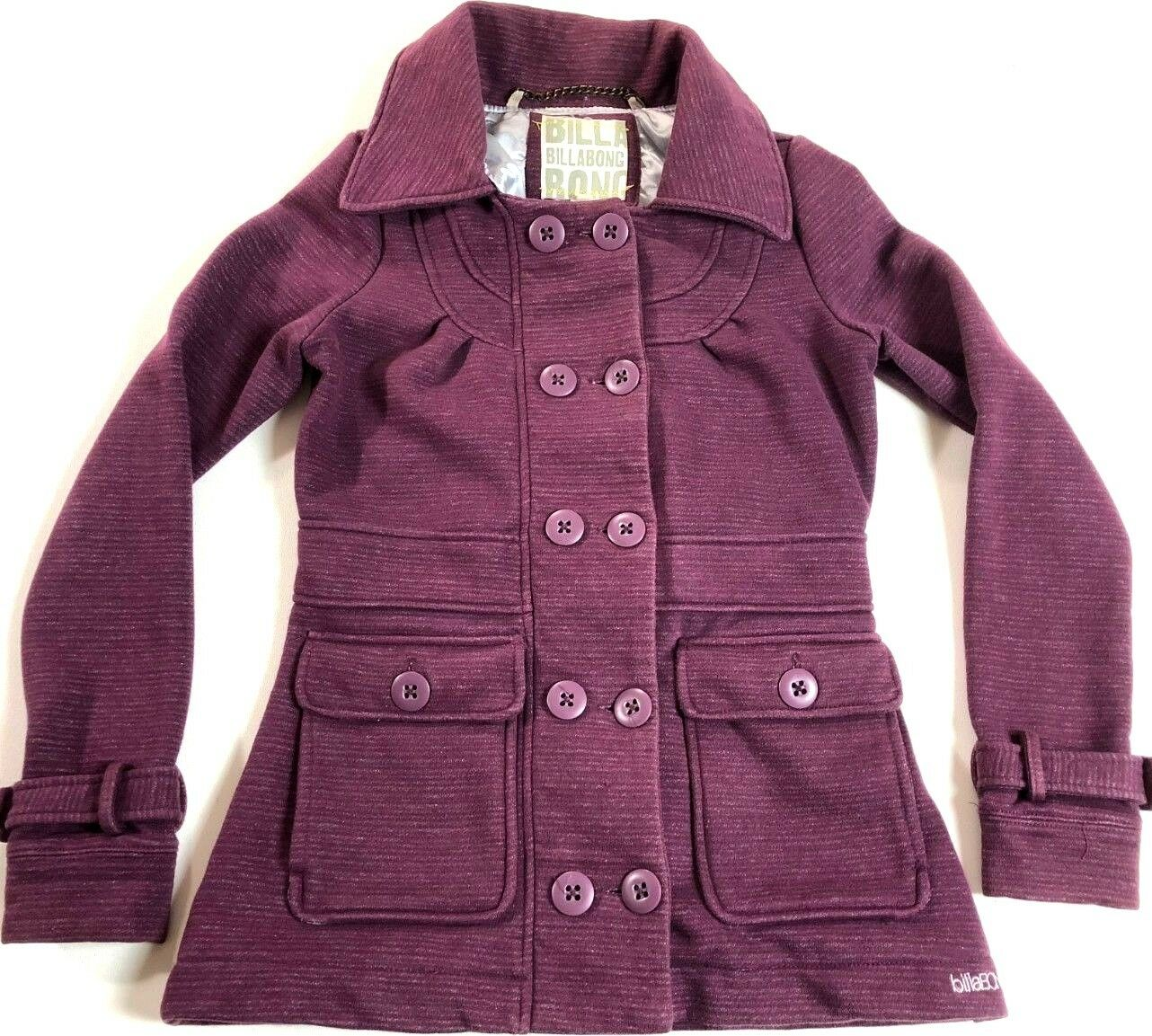 BILLABONG Women's Jacket S Peacoat Maroon Heather Button Lined Surf Cotton Poly