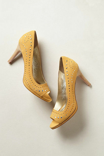 NEW  138 Anthropologie Rosie Peep-Toes shoes in in in Yellow Miss Albright Size 9 cfc902