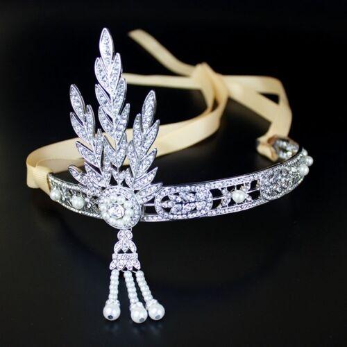 1920s Great Gatsby Daisy Headband Art Deco style silver Flapper headpiece xx