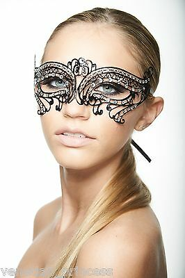 Classic Venetian Metal Filigree Laser Cut Masquerade Mask w/ Rhinestones K2005BK