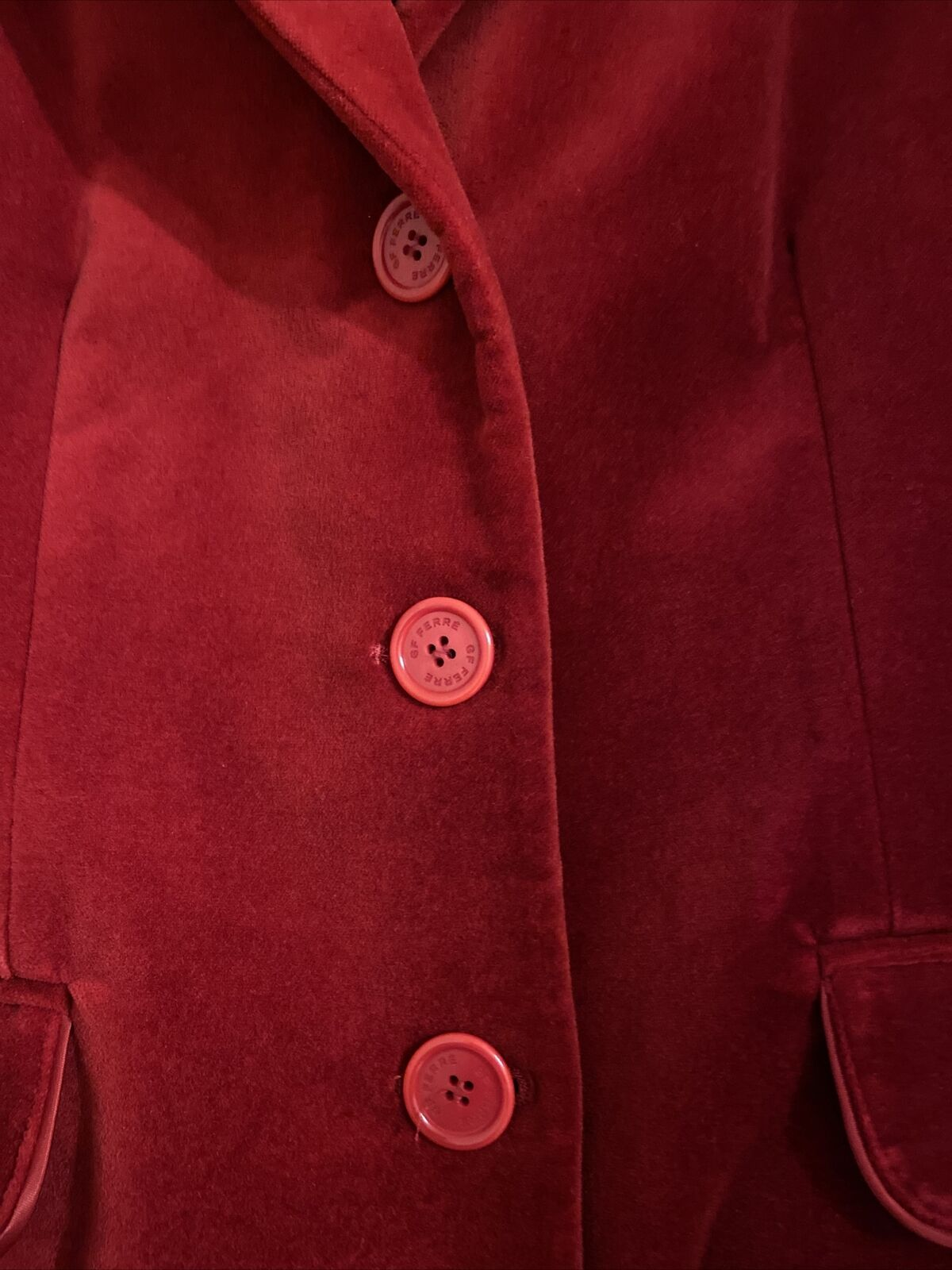 GF FERRE Vintage Red Velvet Velour Jacket Blazer … - image 2