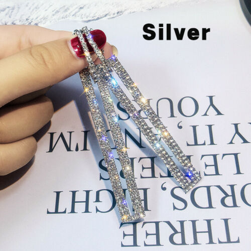 Long Geometric Drop Dangle Earrings Rhinestone Ear Studs Women Jewelry Gift