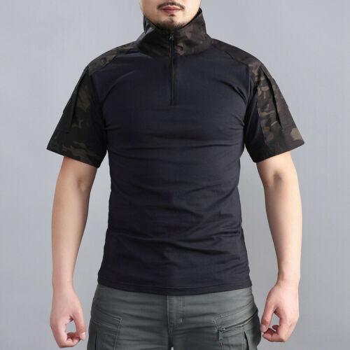 Mens Military T-Shirt Tactical Army Combat Shirt Casual Shirt Hiking Camouflage