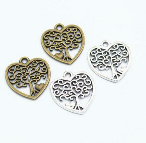 50X Hollow heart shape life Tree pendant necklace jewelry materials accessories