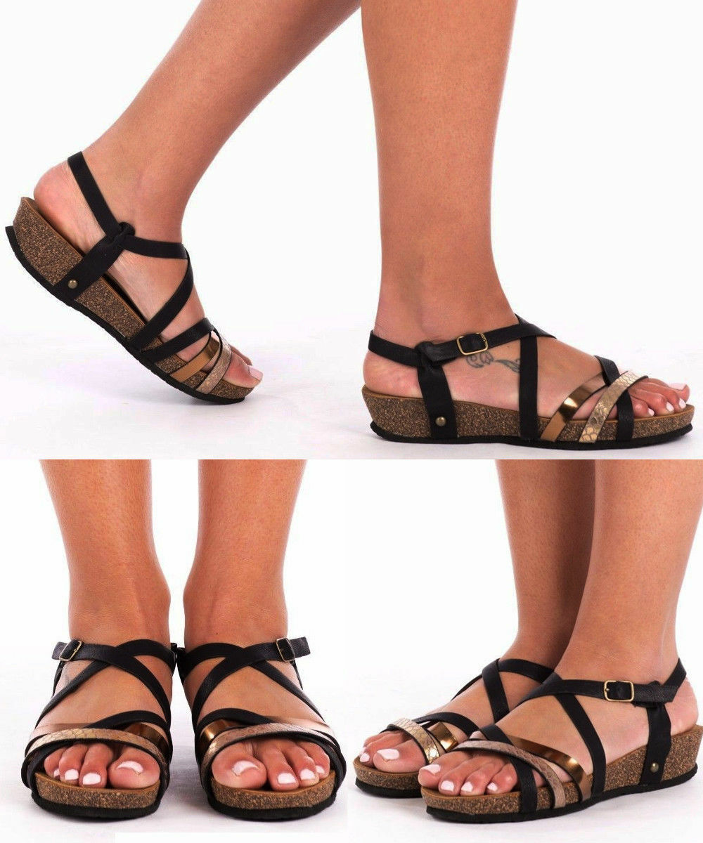 New Women's  Ladies Summer Beach Strappy  Women's Slingback Holidays Wedge Heel Sandals b1e7fb