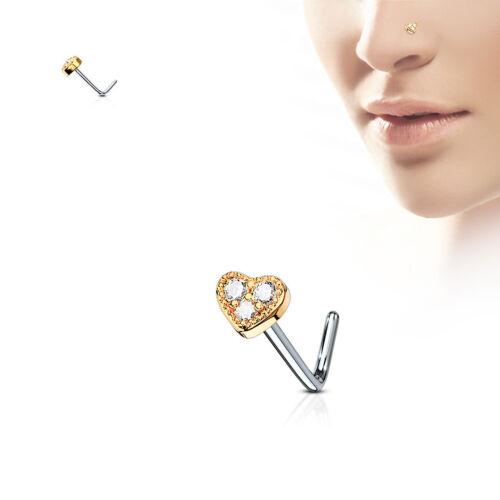 HEART GEM Studs Gold Rose L SHAPE Bend NOSE Bones RINGS Screws Piercings Jewelry