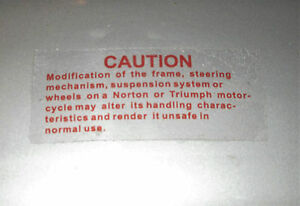 Triumph T140V T150 T160 Frame Modification Warning RED Decal