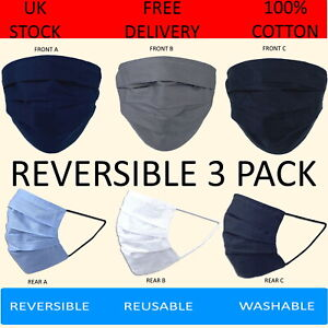 Pack of 3 100% Cotton Face Masks Washable Reversible 6 Colours Black Grey Navy