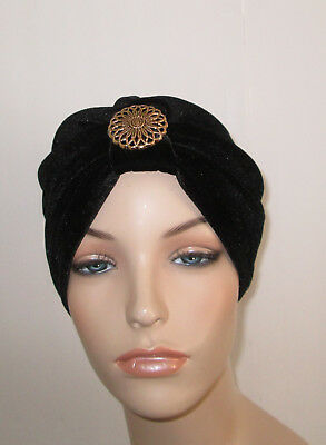 Womens White w// Black Lace TurbanChemoHat Cancer Hat Hijab Alopecia
