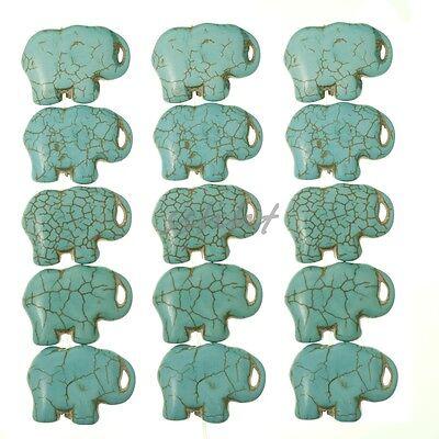 16'' Blue Howlite Turquoise Gemstone Side Ways Elephant Flat Loose Beads