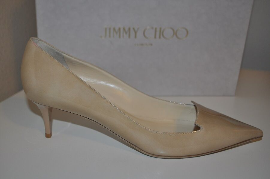 Jimmy Choo Allure Nude Patent Leather Pointed Toe Pump Kitten Heel shoes 8.5 - 8