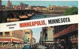 Minneapolis-MN-034-Third-Ave-Bridge-amp-Nicollet-Ave-034-Greetings-Postcard-Minnesota
