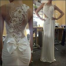 Ivory Long Pearls Formal Prom Gowns Party Evening Pageant Wedding Dresses