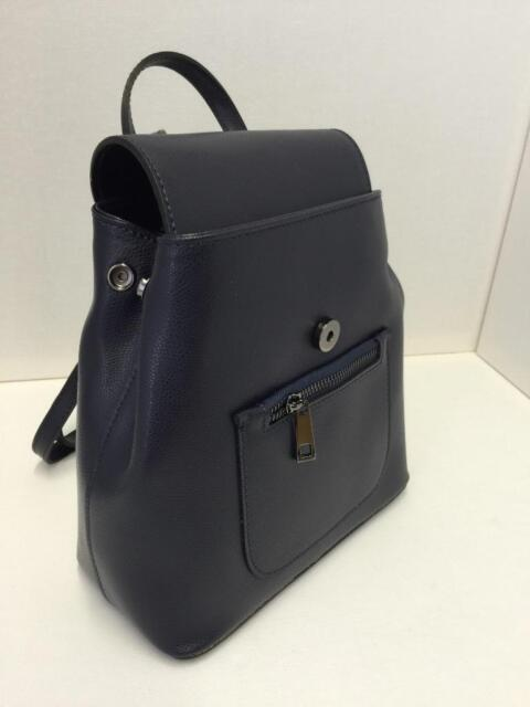 0a131320aa9dfd Ladies Navy Blue Italian Leather Structured Backpack Girls Rucksack ...