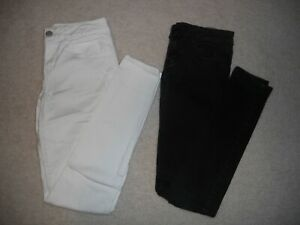 WOMENS-AMERICAN-EAGLE-JEGGING-Super-Stretch-Black-White-Skinny-JEANS-Size-4-LONG