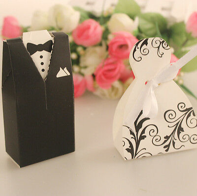 Wedding Favor Dress Tuxedo Bride Groom Candy Box Gifts Souvenir Boxes 100pairs