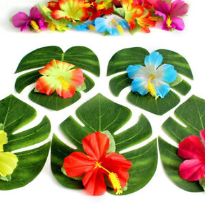 54pcs flower theme party props 8 tropical palm leaves hibiscus